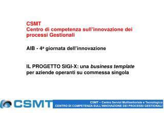 CSMT Centro di competenza sull�innovazione dei processi Gestionali