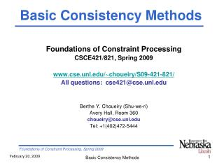 Foundations of Constraint Processing CSCE421/821, Spring 2009