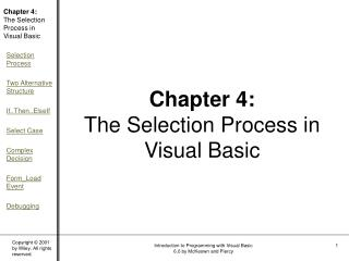Chapter 4:  The Selection Process in Visual Basic