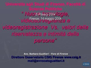 E-Privacy 2004 Firenze, 14 maggio 2004