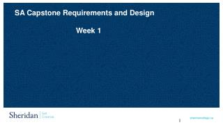 SA  Capstone Requirements and Design Week 1
