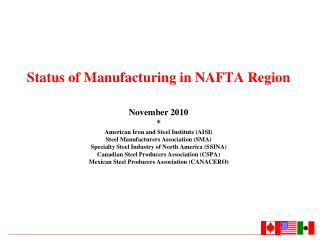 Status of Manufacturing in NAFTA Region November 2010 * American Iron and Steel Institute (AISI)