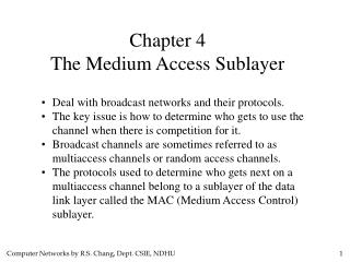 Chapter 4 The Medium Access Sublayer