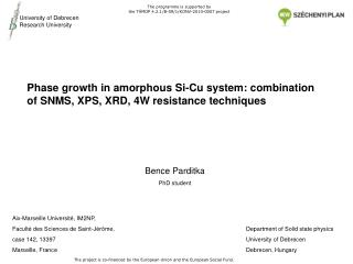 Phase growth in amorphous Si-Cu system: combination of SNMS, XPS, XRD, 4W resistance techniques