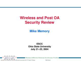 ESCC Ohio State University July 21 – 22, 2004