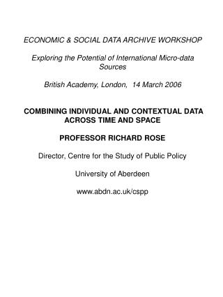 ECONOMIC & SOCIAL DATA ARCHIVE WORKSHOP
