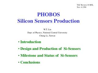 PHOBOS   Silicon Sensors Production