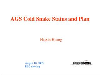 AGS Cold Snake Status and Plan