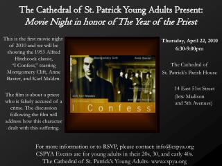 The Cathedral of St. Patrick Young Adults Present:  Movie Night in honor of The Year of the Priest