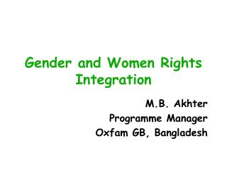 Gender and Women Rights Integration