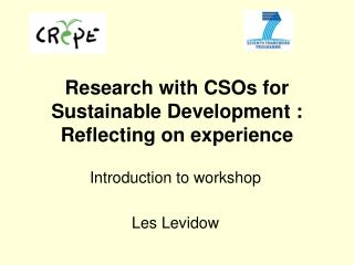 Research with CSOs for Sustainable Development : Reflecting on experience