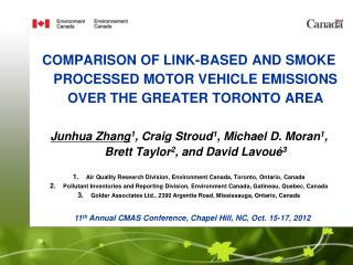 COMPARISON OF LINK-BASED AND SMOKE PROCESSED MOTOR VEHICLE EMISSIONS OVER THE GREATER TORONTO AREA