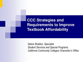 Debra Sheldon, Specialist Student Services and Special Programs