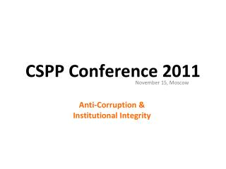 CSPP Conference 2011