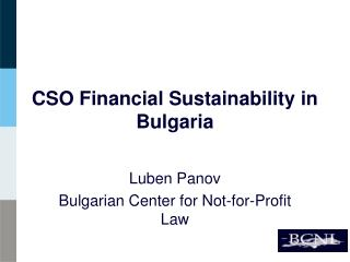 CSO Financial Sustainability in Bulgaria