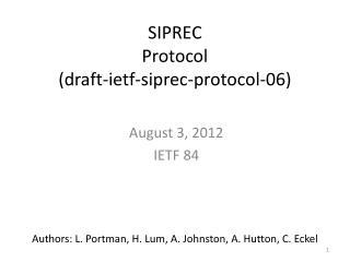 SIPREC Protocol (draft-ietf-siprec-protocol-06)