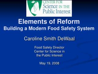 Elements of Reform Building a Modern Food Safety System