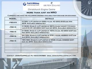 more than just an MRO Currently we have the following engines available for purchase or exchange: