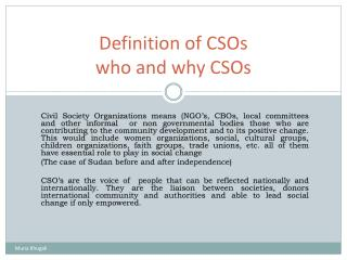 Definition of CSOs who and why CSOs