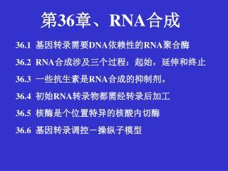 36.1   基因转录需要 DNA 依赖性的 RNA 聚合酶 36.2  RNA 合成涉及三个过程:起始,延伸和终止 36.3   一些抗生素是 RNA 合成的抑制剂。