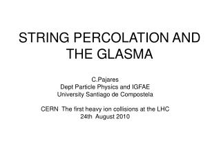 STRING PERCOLATION AND THE GLASMA