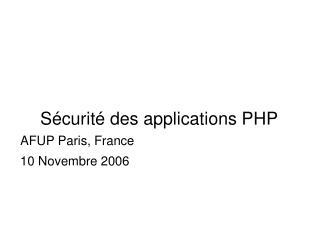 Sécurité des applications PHP