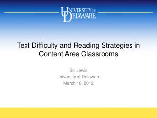 Text Difficulty and Reading Strategies in Content Area Classrooms