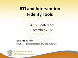 RTI and Intervention  Fidelity Tools