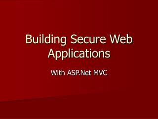 Building Secure Web Applications