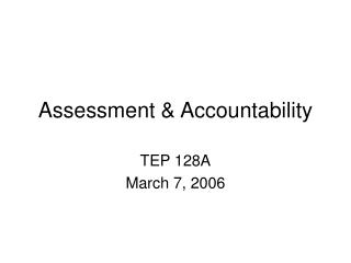 Assessment & Accountability
