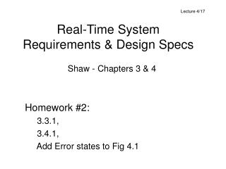 Real-Time System Requirements & Design Specs