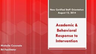 Academic & Behavioral Response to Intervention