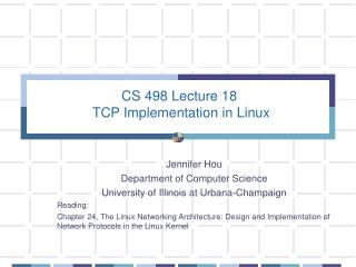 CS 498 Lecture 18  TCP Implementation in Linux