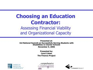 Choosing an Education Contractor: Assessing Financial Viability and Organizational Capacity