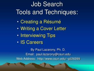 Job Search  Tools and Techniques: