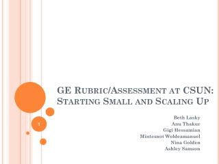 GE Rubric/Assessment at CSUN: Starting Small and Scaling Up