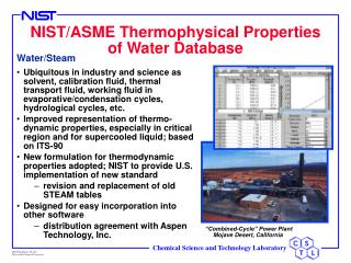 NIST/ASME Thermophysical Properties of Water Database