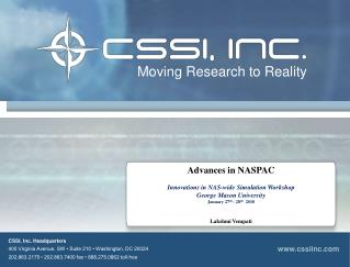 CSSI, Inc. Headquarters 400 Virginia Avenue, SW • Suite 210 • Washington, DC 20024