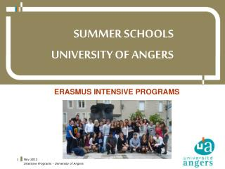 SUMMER SCHOOLS UNIVERSITY OF ANGERS