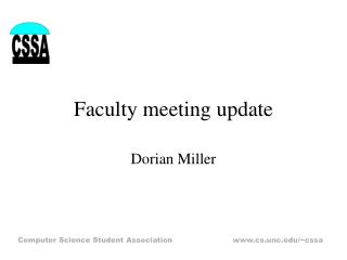 Faculty meeting update