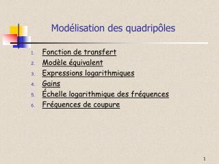 Modélisation des quadripôles