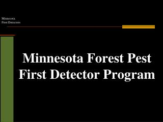 Minnesota Forest Pest First Detector Program