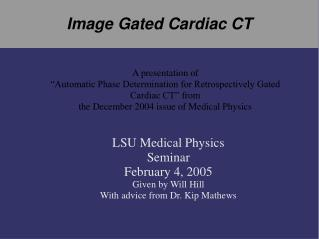 Image Gated Cardiac CT