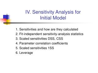 IV. Sensitivity Analysis for Initial Model