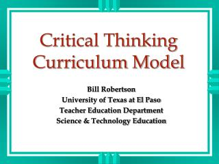 Critical Thinking Curriculum Model
