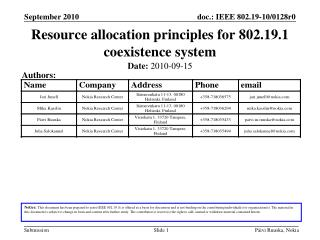 Resource allocation principles for 802.19.1 coexistence system