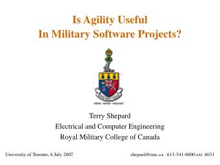 Is Agility Useful  In Military Software Projects?