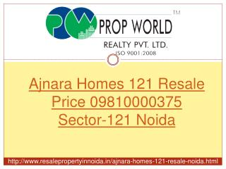 Ajnara Homes 121 Resale Price 09810000375 Sector-121 Noida