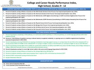 College and Career Ready Performance Index, High School, Grades 9 - 12