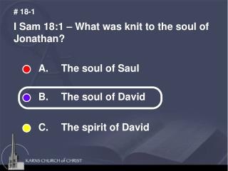 I Sam 18:1 – What was knit to the soul of Jonathan?